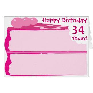 Tarjeta 34to cumpleaños feliz