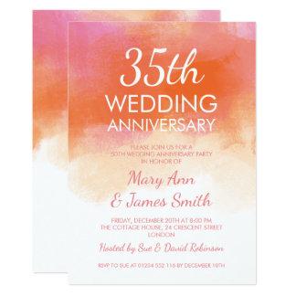 Tarjeta 35to Acuarela del coral del rosa del aniversario