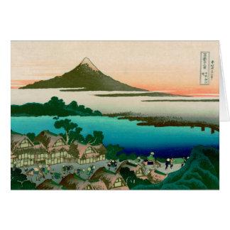 Tarjeta 36 vistas del monte Fuji, vintage fino de Hokusai