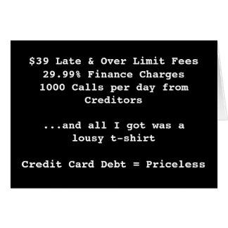 Tarjeta $39 atrasado y sobre carga de las finanzas del