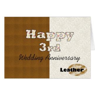Tarjeta 3ro aniversario de boda feliz