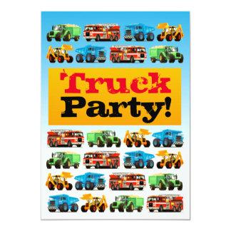 Tarjeta 3ro fiesta del camión de la construcción del