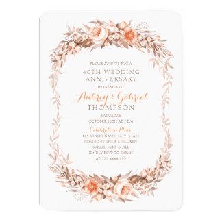 Tarjeta 40.a caída floral elegante del aniversario de boda