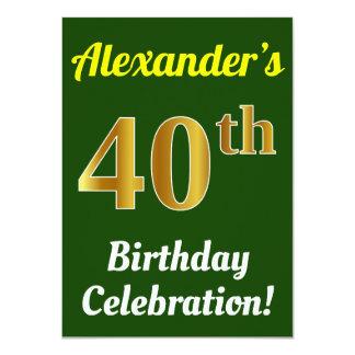Tarjeta 40.a celebración del cumpleaños del oro verde,
