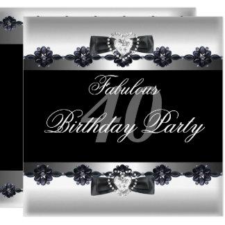 Tarjeta 40.a fiesta de cumpleaños 40 fabulosos blancos