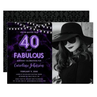 Tarjeta 40.a fiesta de cumpleaños de la púrpura - 40 y