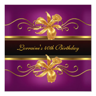 Tarjeta 40.a fiesta de cumpleaños del ciruelo de la joya
