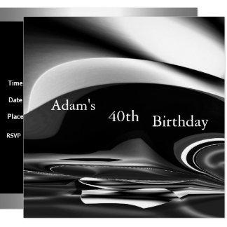Tarjeta 40.a fiesta de cumpleaños del extracto 2 de plata
