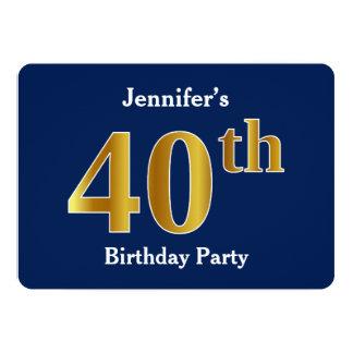 Tarjeta 40.a fiesta de cumpleaños del oro azul, falso +