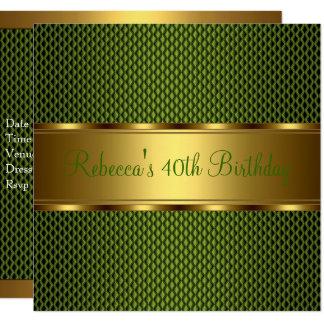 Tarjeta 40.a fiesta de cumpleaños elegante del oro verde