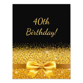 Tarjeta 40.a fiesta de cumpleaños en negro con la chispa