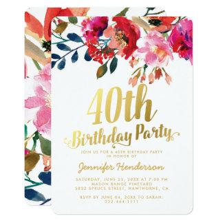 Tarjeta 40.a fiesta de cumpleaños floral elegante del oro