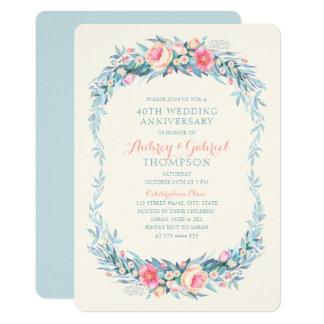 Tarjeta 40.a primavera floral elegante del aniversario de