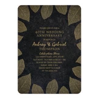 Tarjeta 40.as hojas de oro del aniversario de boda de la