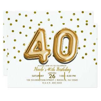 Tarjeta 40 globos del oro y 40.a fiesta de cumpleaños del
