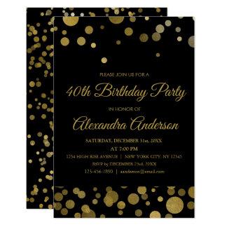 Tarjeta 40.o confeti del oro de la fiesta de cumpleaños