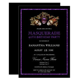 Tarjeta 40.o cumpleaños de la mascarada púrpura atractiva