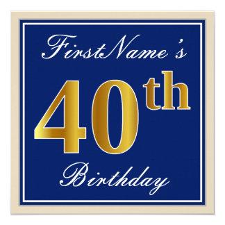 Tarjeta 40.o cumpleaños del oro elegante, azul, falso +