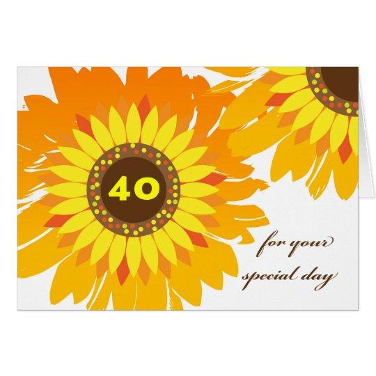 Tarjeta 40.o cumpleaños feliz, diseño de los girasoles