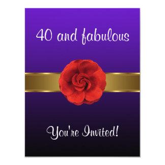 Tarjeta 40.o fabuloso del oro rojo púrpura de la flor