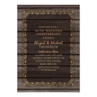 Tarjeta 40.o Fiesta de madera rústico del país del