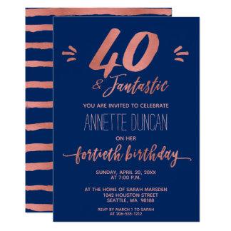 Tarjeta 40.o Fiesta de moda azul subió cumpleaños del oro