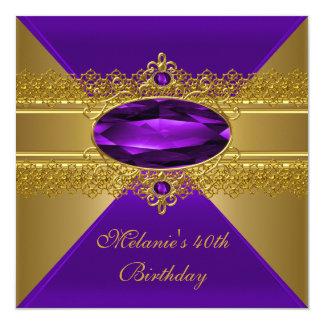 Tarjeta 40.o Oro elegante de la púrpura del cordón del