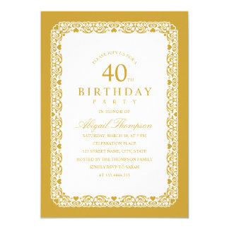 Tarjeta 40.o simple elegante de la fiesta de cumpleaños