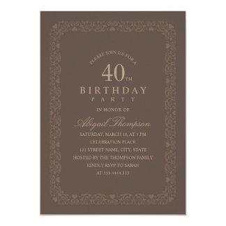 Tarjeta 40.o simple elegante de la fiesta de cumpleaños de