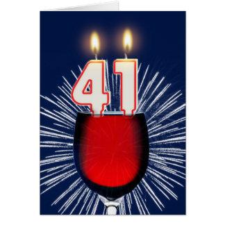 Tarjeta 41.o Cumpleaños con el vino y las velas