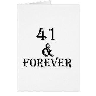 Tarjeta 41 y para siempre diseños del cumpleaños