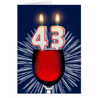 Tarjeta 43.o Cumpleaños con el vino y las velas