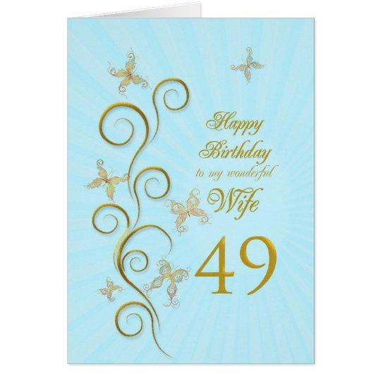 Tarjeta 49.o cumpleaños de la esposa con las mariposas de
