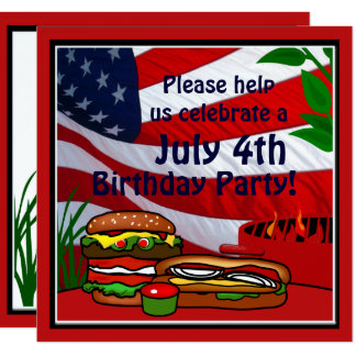 Tarjeta 4 de julio perrito caliente de la hamburguesa de