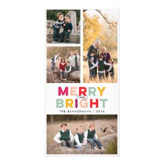 Tarjeta 4 fotos felices brillante y colorido