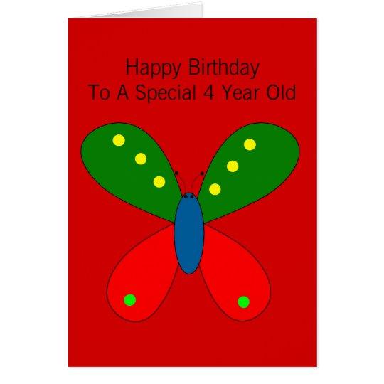 Tarjeta 4to cumpleaños de la mariposa