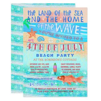 Tarjeta 4to de la natación del verano de la playa o de la