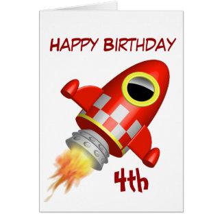 Tarjeta 4to pequeño tema de Rocket del feliz cumpleaños