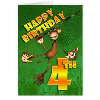 Tarjeta 4to plátano feliz del mono del cumpleaños