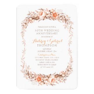 Tarjeta 50.a caída floral elegante del aniversario de boda
