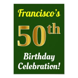 Tarjeta 50.a celebración del cumpleaños del oro verde,
