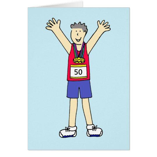 Tarjeta 50.a enhorabuena del maratón para un varón