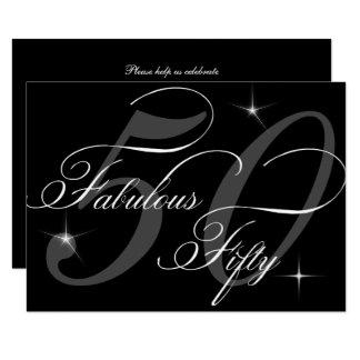 Tarjeta 50.a fiesta de cumpleaños del blanco negro