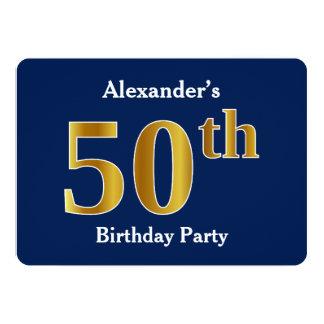 Tarjeta 50.a fiesta de cumpleaños del oro azul, falso +