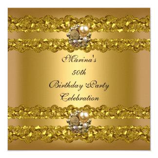 Tarjeta 50.a joya elegante de la perla del oro de la