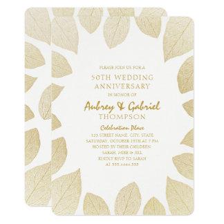 Tarjeta 50.as hojas de oro elegantes del aniversario de