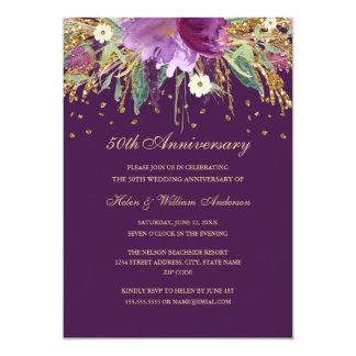 Tarjeta 50.o aniversario de boda floral Amethyst púrpura