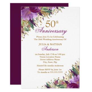 Tarjeta 50.o aniversario floral púrpura Amethyst