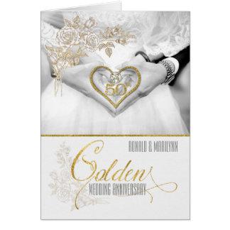 Tarjeta 50.o Años de oro del aniversario de boda