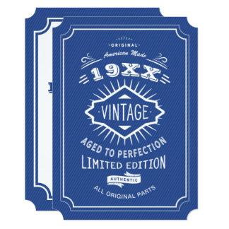 Tarjeta 50.o Azul de la fiesta de cumpleaños y edición de